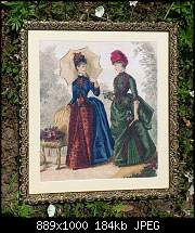 Victorian Fashions - схема на Аrtecy,  Stitches = 204w x 250h , Colours = 63 DMC colours.